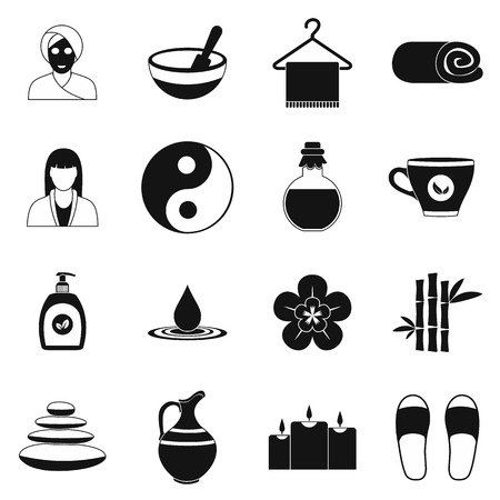 massage symbol: Spa simple icons set for web and mobile devices