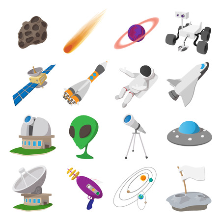 retro cartoon: Space cartoon illustrations set. 16 symbols on a white background Illustration