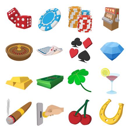 gambling chips: Casino cartoon icons set isolated on white background Illustration