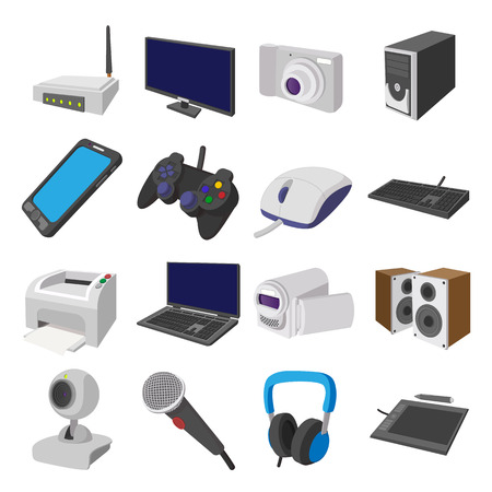 sms payment: Technology and devices cartoon icons set isolated on white background
