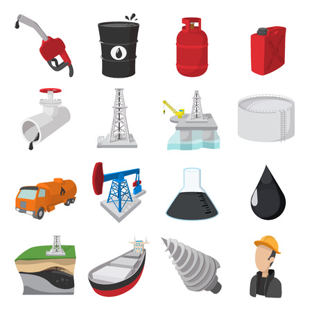 Oil industry cartoon icons set isolated on white background Иллюстрация