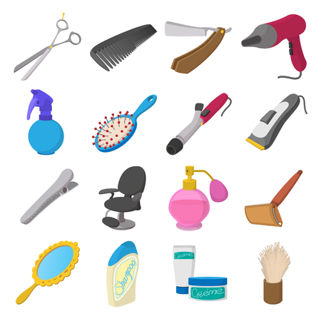 comb hair: Barber shop cartoon icons. Hairdresser set isolated on white background