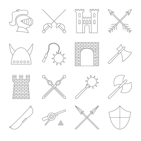 buffoon: Medieval outline icons set. 16 simple black symbols on a white background Illustration