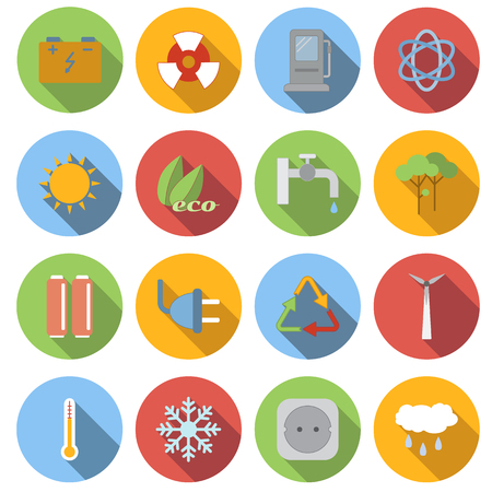 icon collection: Circle ecology flat icons set. 16 color symbols Illustration