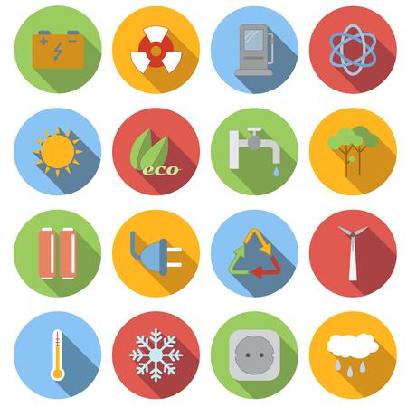 ecology icons: Circle ecology flat icons set. 16 color symbols Illustration
