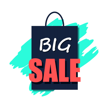 best ad: Big sale poster flat icon. Big sale written on a shopping bag illustration