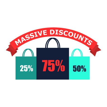 best ad: Discounts flat icon. 3 shopping bags with text 50, 70, 25 advertising