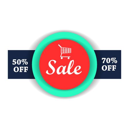 70: Sale flat illustration. 50, 70 off.  with shopping cart on a white background