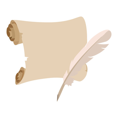 old letters: Scroll with pen cartoon icon on a white background Illustration
