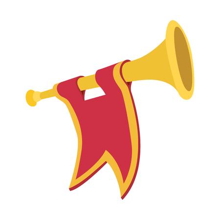 Trompette avec l'icône de dessin animé drapeau rouge sur un fond blanc