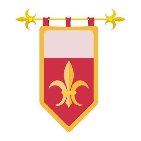 caballero medieval: Medieval icono de dibujos animados abrigo. Bandera viejo aislado en un fondo blanco