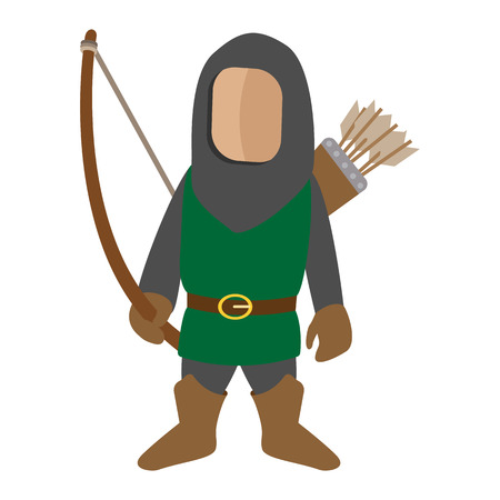 bowman: Medieval character archer cartoon icon. Single man on a white background