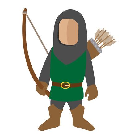 caricaturas de personas: Medieval icono de dibujos animados arquero car�cter. Solo hombre sobre un fondo blanco