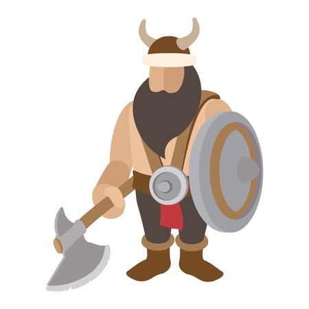 character traits: Viking stand with shield cartoon character on a white background