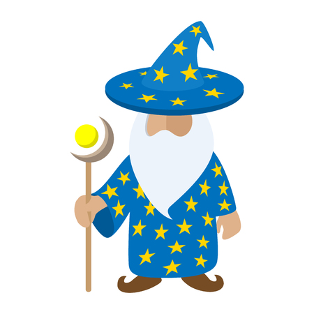 funny bearded man: Old wizard cartoon character. Medieval magician on a white background