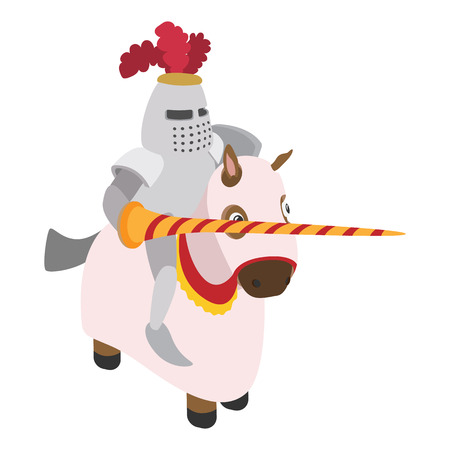 cartoon knight: Knight with spear and horse cartoon character on a white background