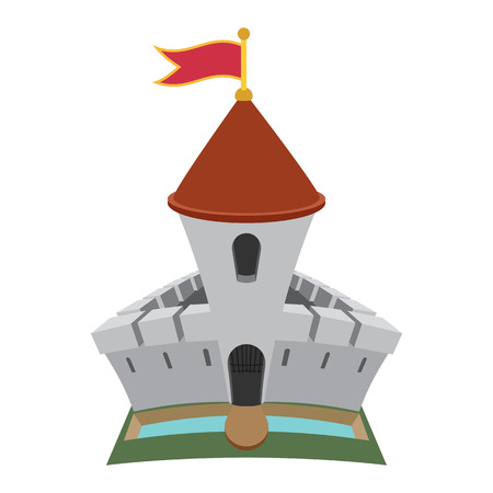 donjon: Medieval castle fortress cartoon icon. With donjon tower, stones wall and flag Illustration