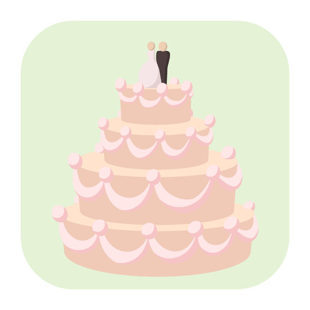 pink dress: Wedding cake cartoon icon. A stylish wedding cake decorated with flowers and a bride and groom cake topper.