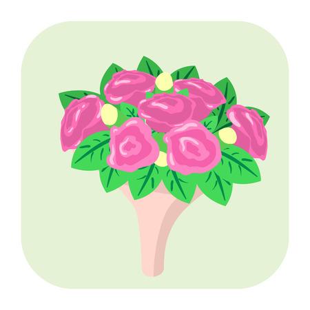 bouquet fleur: Bouquet de fleurs ic�ne dessin anim� isol� sur fond blanc