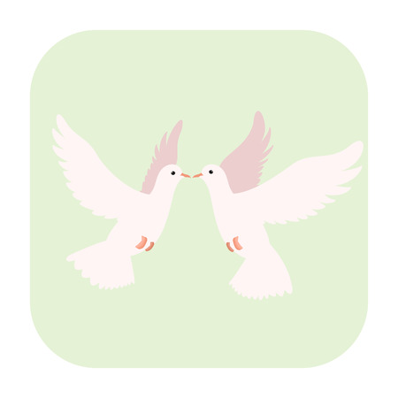 animals together: Two doves cartoon icon isolated on white background Illustration