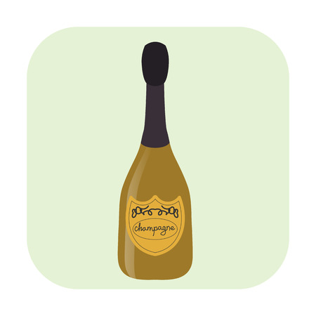 uncorked: Bottle of champagne cartoon icon isolated on white background