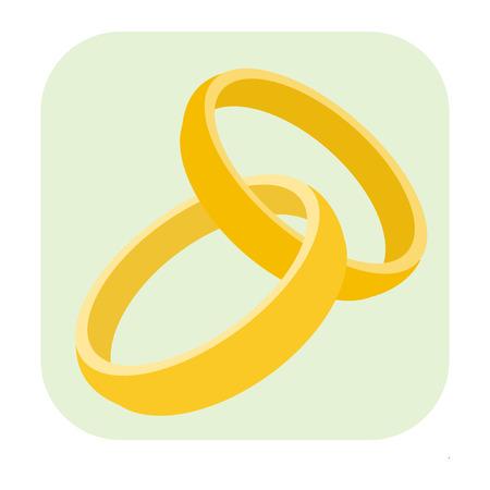 diamond rings: Wedding rings cartoon icon isolated on white background