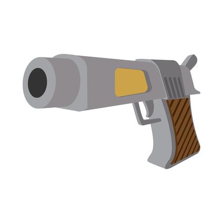 wojenne: Pistol cartoon icon isolated on white background