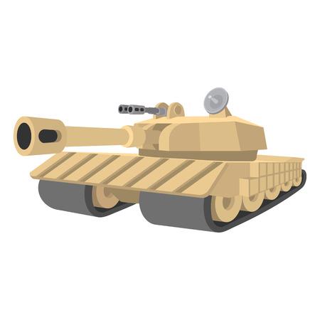 tanque de guerra: Pesada icono tanque de la historieta aislado en un fondo blanco
