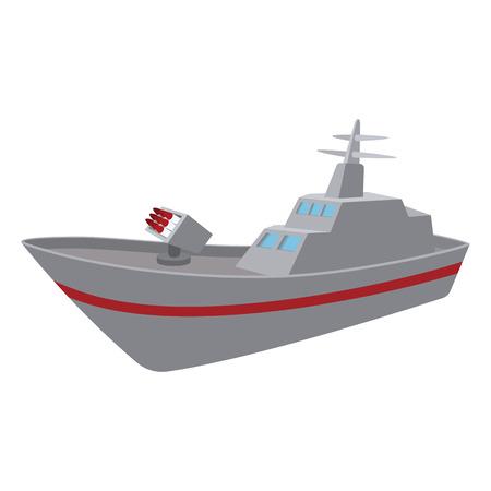 warship: Warship cartoon icon isolated on a white background