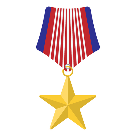 medal: Medal with star cartoon icon isolated on white background Illustration