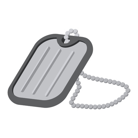blank metallic identification plate: Military badge cartoon icon isolated on a white background