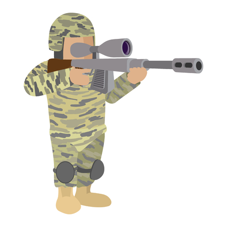 sharpshooter: Soldier in camouflage with a sniper rifle cartoon icon isolated on a white background Illustration