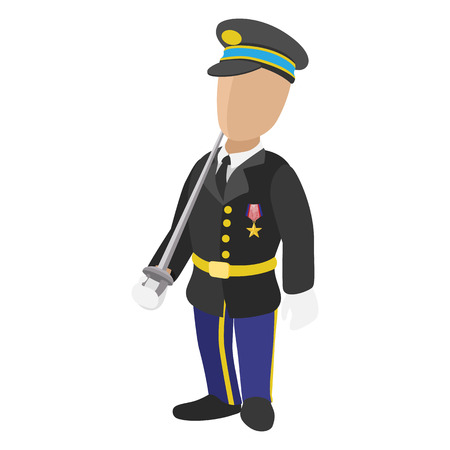 estrella caricatura: Soldado en el icono completo de dibujos animados uniforme aisladas sobre fondo blanco