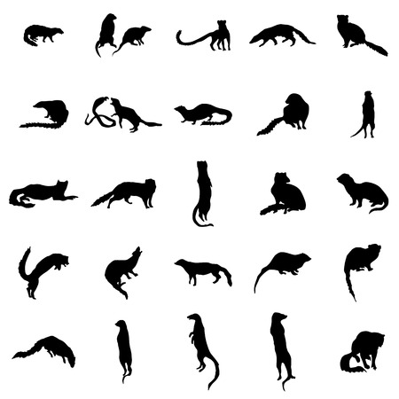 small group of objects: Meerkat silhouettes set isolated on white background