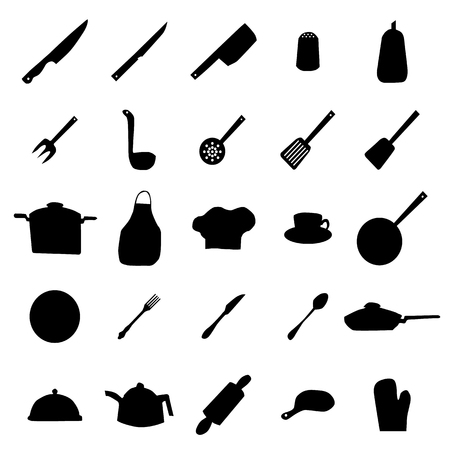 ware: Kitchen ware and utensils silhouettes isolated on white background Illustration