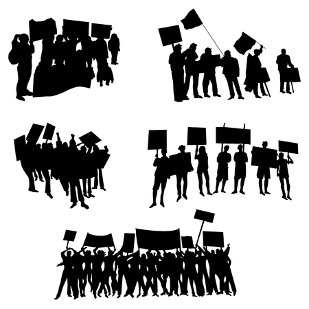 Acclamation ou protestant foule avec des drapeaux et des bannières silhouettes set