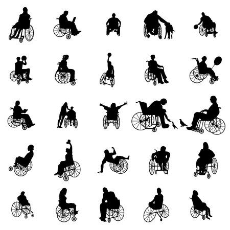 persona en silla de ruedas: Hombre y mujer en silla de ruedas siluetas conjunto aislado en blanco