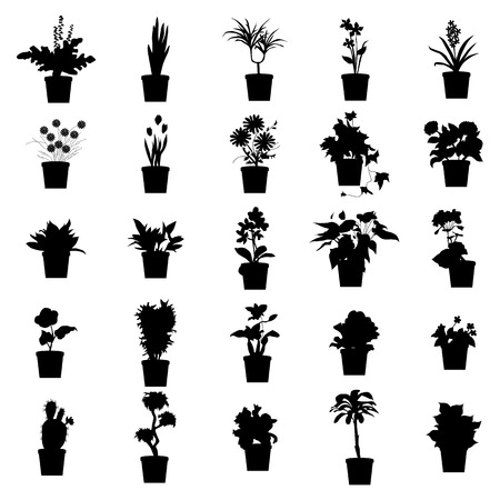 plants and flowers: Potted plants silhouettes set isolated on white background Illustration