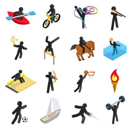 steeplechase: Summer sports isometric 3d icons set. Pictograms with black line man isolated on a white background
