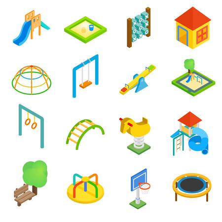 ice slide: Playground isometric 3d icons set isolated on white background