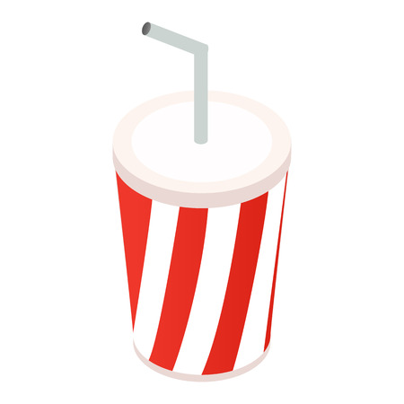 Paper cups with drink isometric 3d icon isolated on a white background