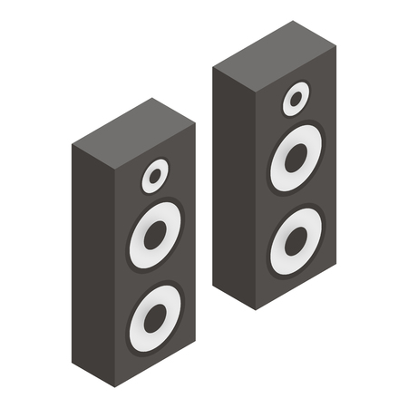 speakers: Musical speakers isometric 3d icon isolated on a white background