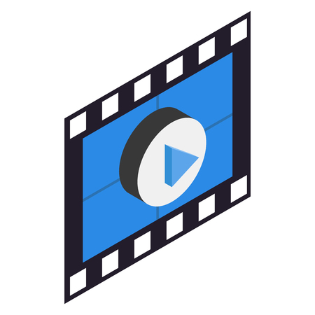 at the movies: Filmstrip 3D isometric icon on a white background