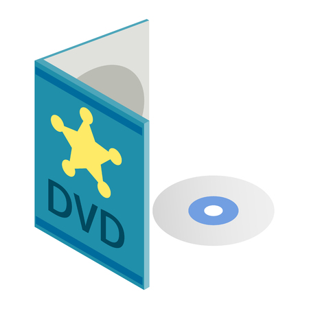 cd r: DVD disk with box isometric 3d icon isolated on a white background Illustration