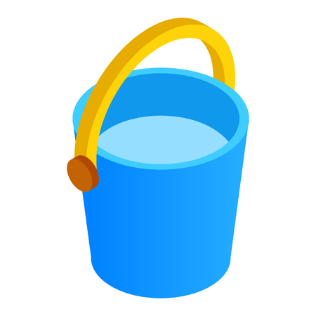 tare: Bucket of water isometric 3d icon isolated on a white background