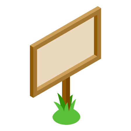 signboard: Wooden signboard in the grass 3D isometric icon on a white background Illustration