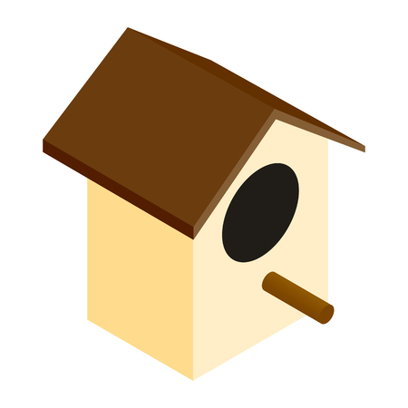 sides: Birdhouse isometric 3d icon isolated on a white background