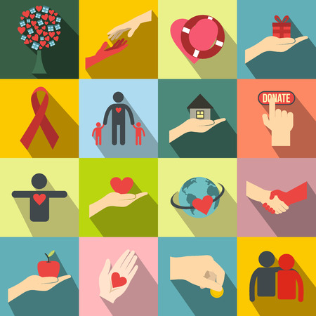 Charity flat icons. Donation icons for web and mobile devices