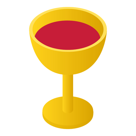 gold cup: Gold cup with wine isometric 3d icon on a white background