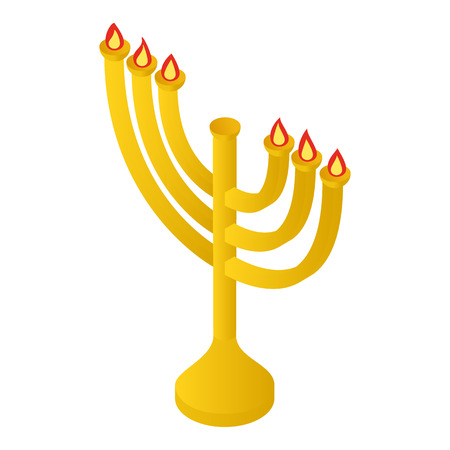chanuka: Menorah for Hanukkah isometric 3d icon on a white background